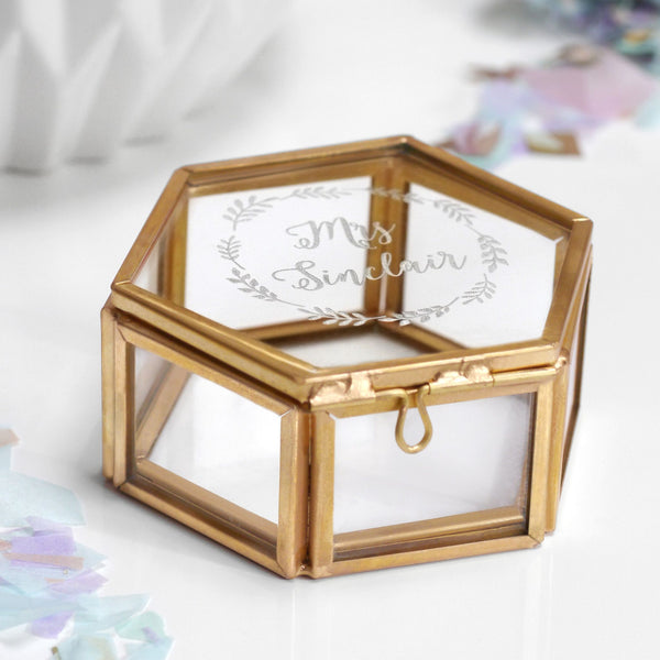 Personalised hexagon jewellery box