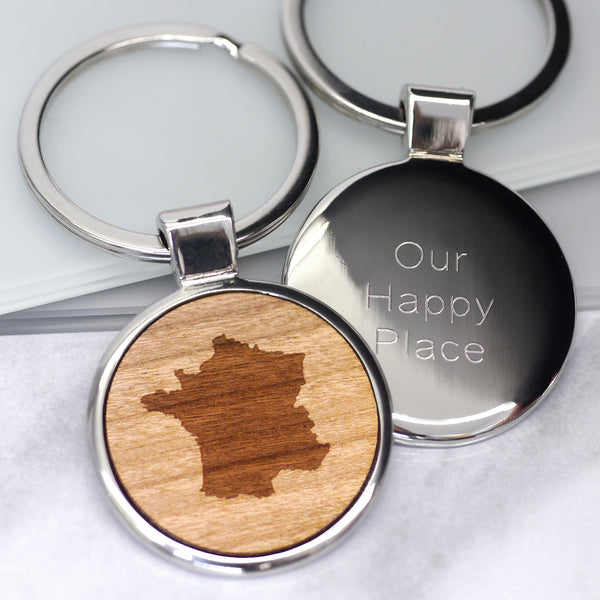 Personalised Our Happy Place Keyring