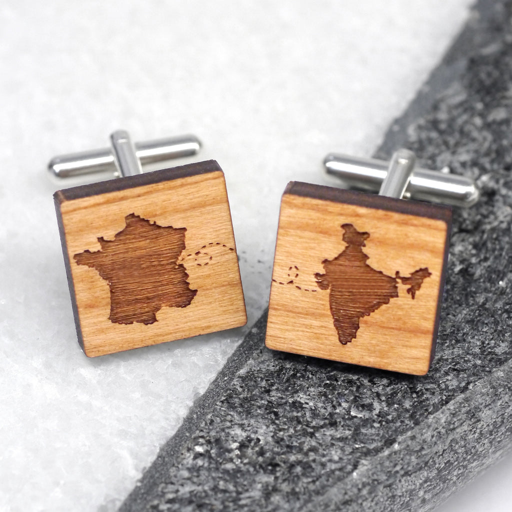 Personalised Our Journey Wooden Cufflinks