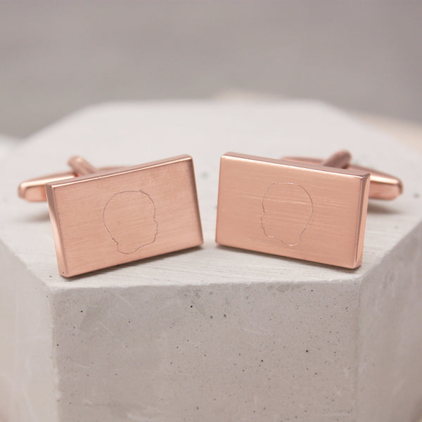 Personalised Portrait Rectangular Cufflinks