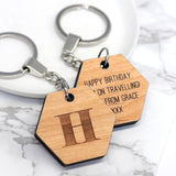 Personalised Hexagon Keyring