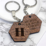 Walnut Wood Engraved Keyring