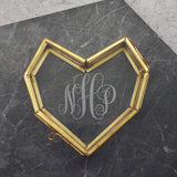 Personalised Mini Glass Heart Box With Monogram