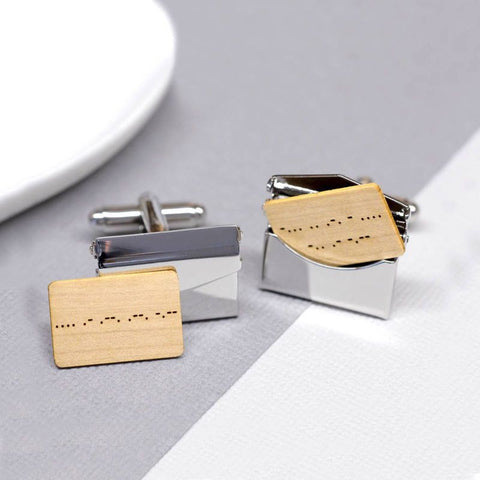 Personalised Morse Code Envelope Cufflinks