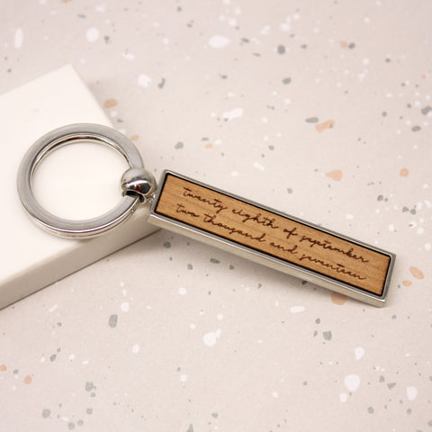 Personalised Written Date Bar Keyring