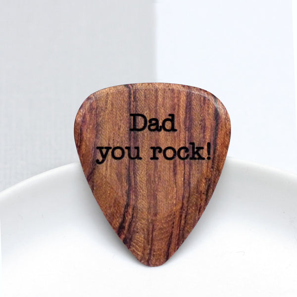 Wooden Plectrum with Dad personalisation
