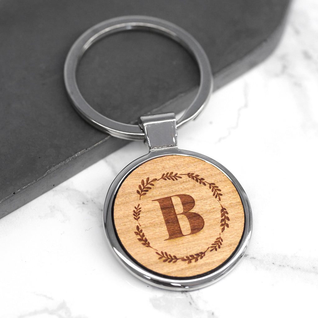 Personalised Initial And Wreath Keyring