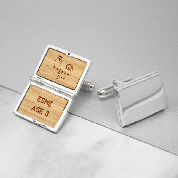 Personalised Sterling Silver Locket Handdrawn Cufflinks