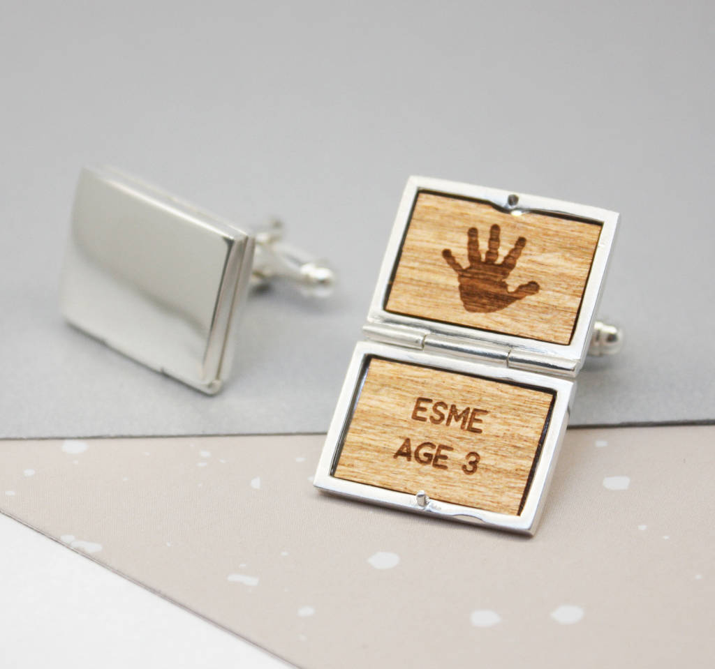 Personalised Sterling Silver Locket Handprint Cufflinks