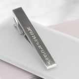 Personalised Coordinate Bar Tie Clip