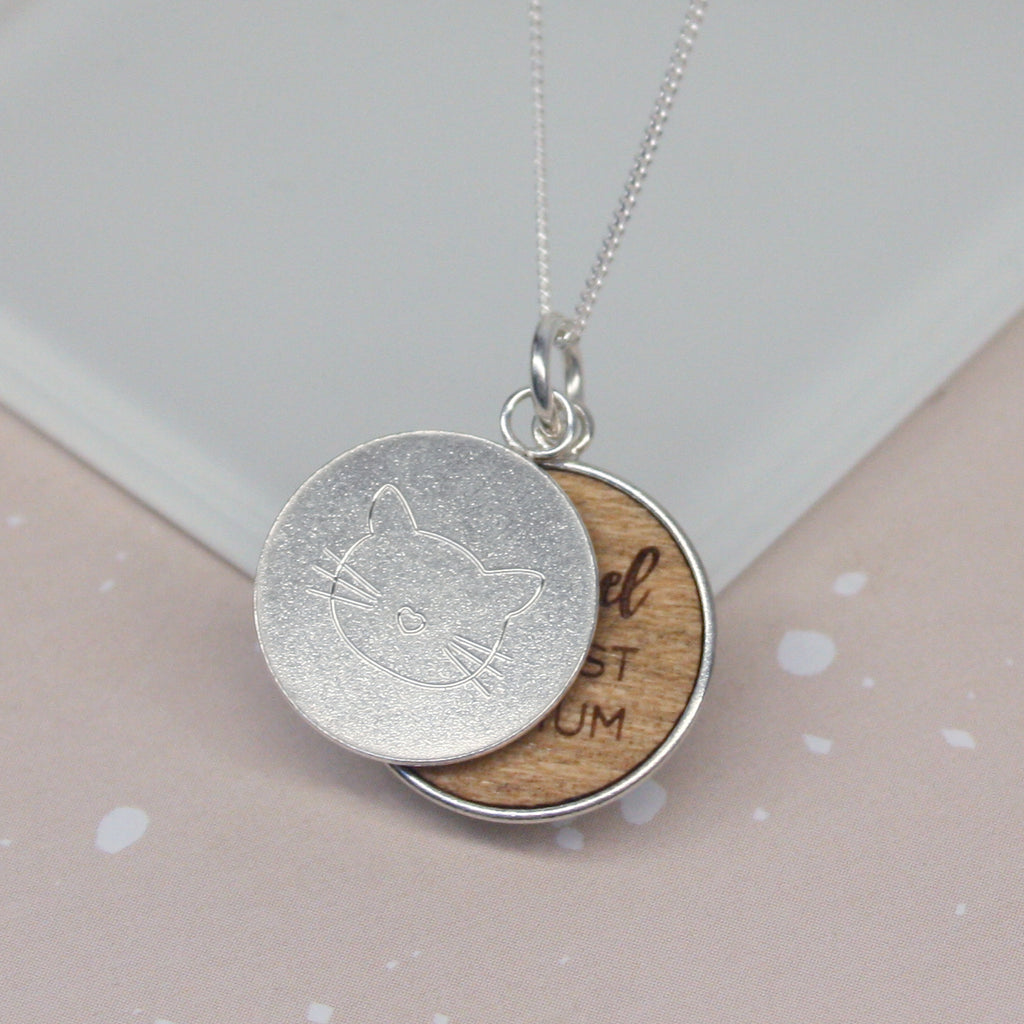 Personalised Cat Mum Disc Necklace