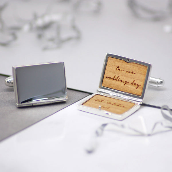Personalised Sterling Silver Locket Message Cufflinks