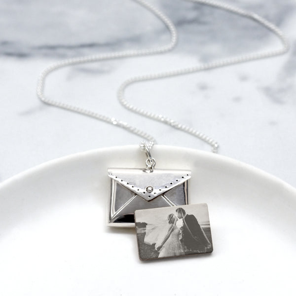 Personalised Photo Sterling Silver Love Letter Necklace