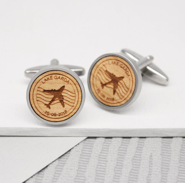 Personalised Travel Stamp Cufflinks