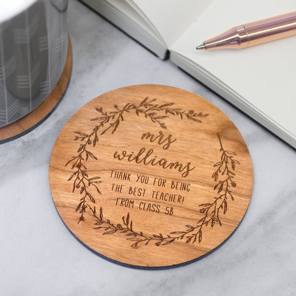 Personalised Wooden Teacher Coaster