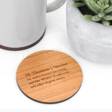 Personalised Teacher Definition Coaster
