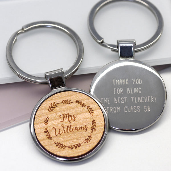 Personalised Teacher Wreath Keyring