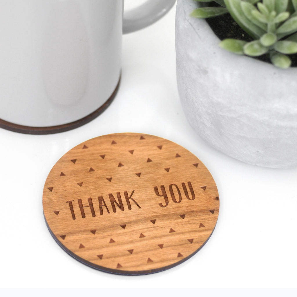 Wooden Thank You Coaster