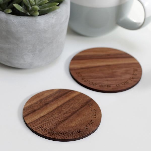 Personalised Wooden Coordinate Coasters