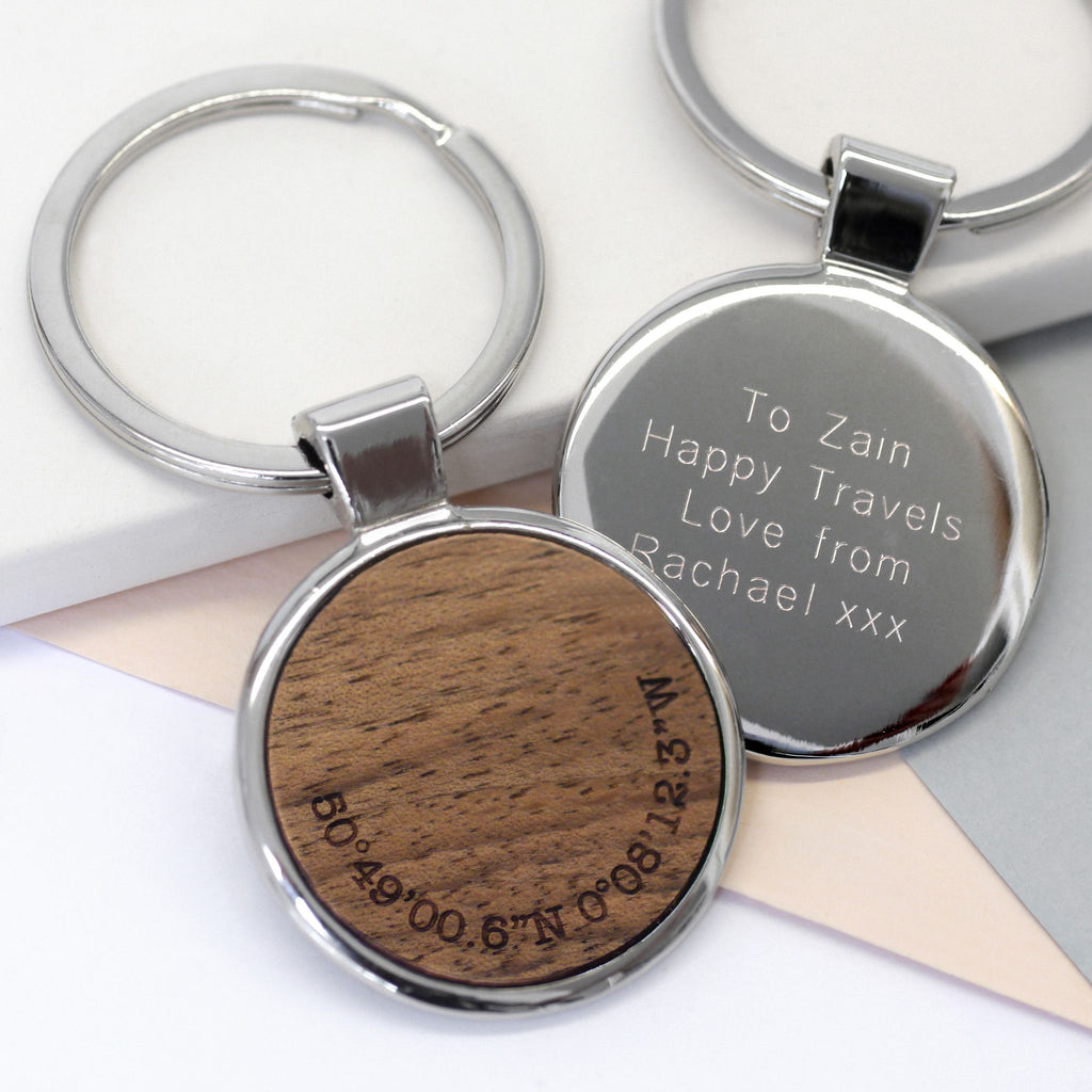 Personalised Walnut Wood Coordinate Keyring