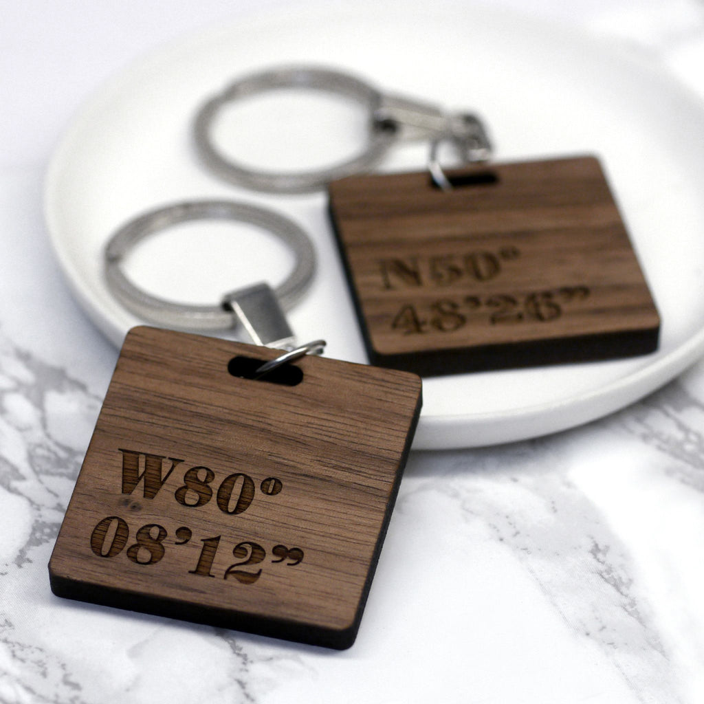 Set Of Two Personalised Coordinate Keyrings