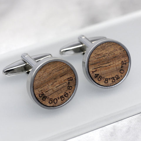 Walnut Wood Coordinate Cufflinks