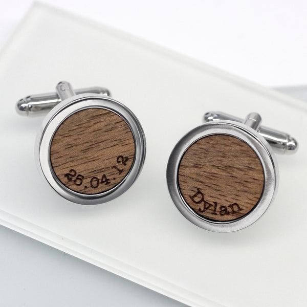 Walnut Wood Name and Date Cufflinks
