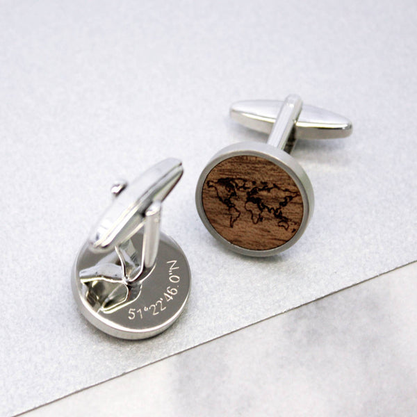 Personalised Walnut World Map Cufflinks