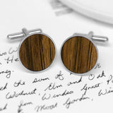 Windsor Castle Walnut Wood Cufflinks