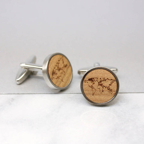 Personalised World Map Cufflinks