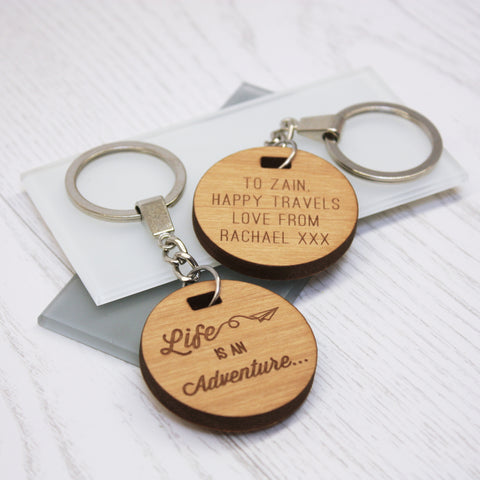 Personalised Wooden Adventure Keyring