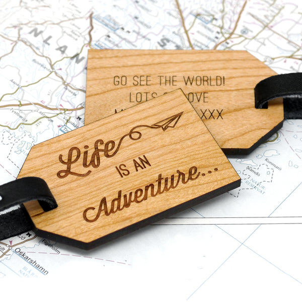 Personalised Wooden Adventure Luggage Tag