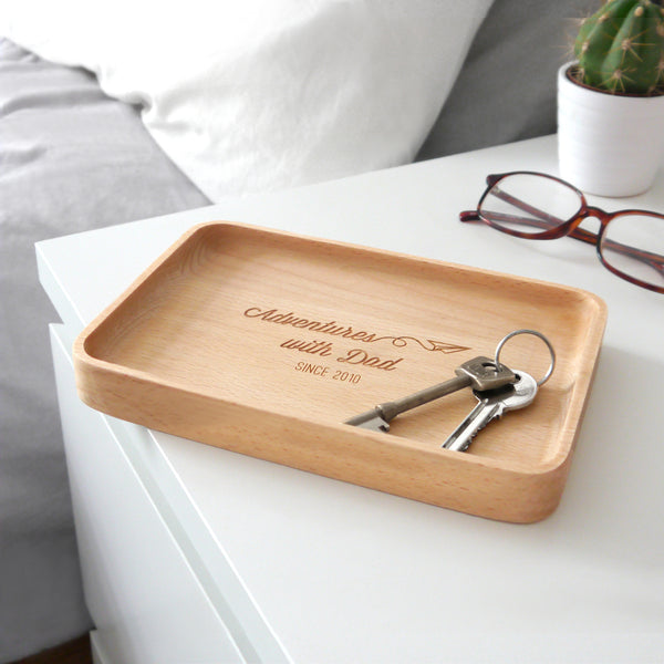 Personalised Wooden Adventures With Dad Coin Tray