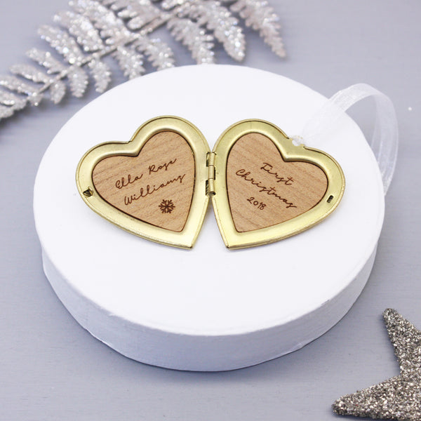 Personalised Baby's First Christmas Heart Locket Decoration