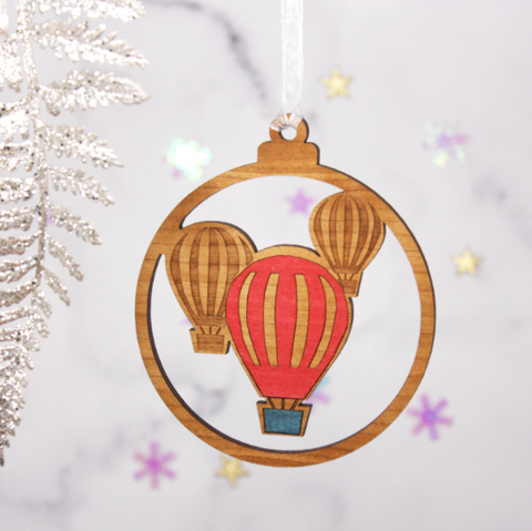 Hot Air Balloons Wooden Bauble