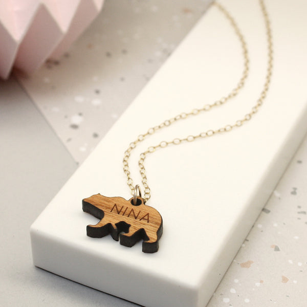 Personalised Wooden Bear Silhouette And Name Necklace