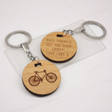 Personalised Wooden Cut Out Bicycle Keyring