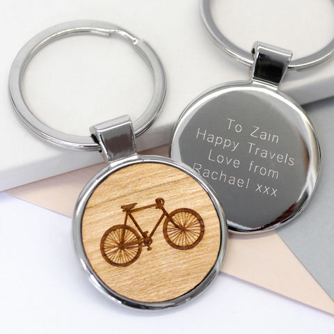 Personalised Wooden Bicycle Keyring