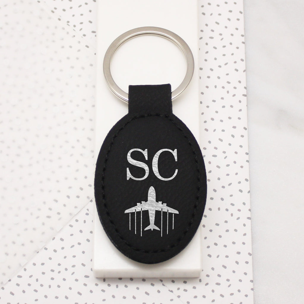 Plane And Initials Faux Leather Keyring