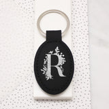 Botanical Letter Faux Leather Keyring