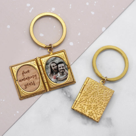Personalised Photo Storybook Locket Keyring