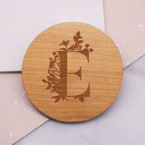 Personalised Wooden Botanical Initial Coaster