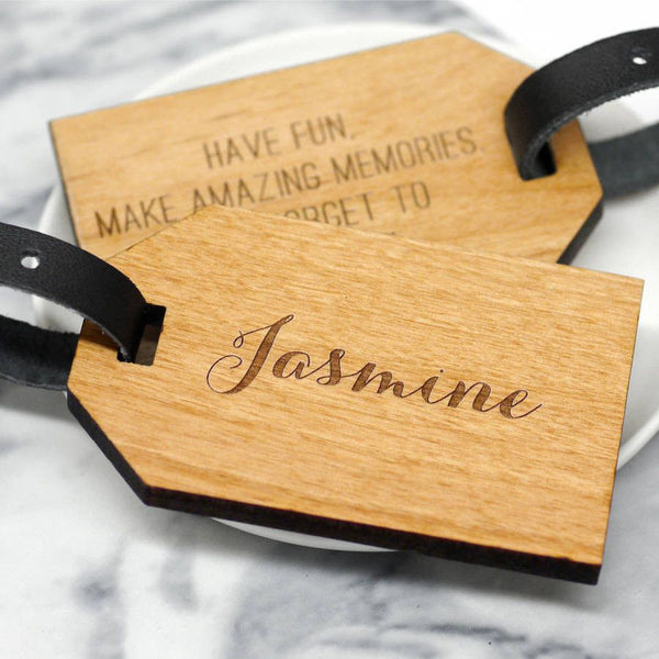 personalised calligraphy name luggage tag