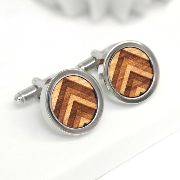 Wooden 3D Chevron Cufflinks
