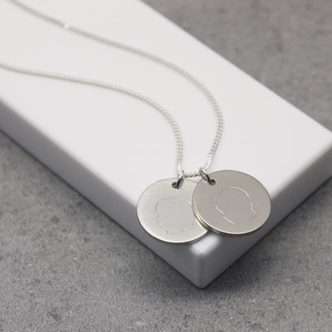 Personalised Childrens Portrait Disc Necklace