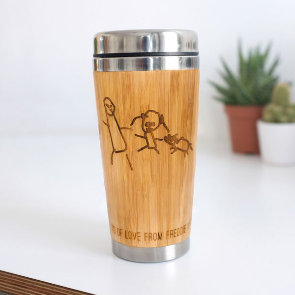 Bamboo Travel Mug With Child's Illustration