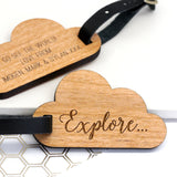 Wooden Luggage Tag in Cloud Shape