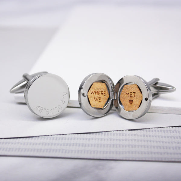 Personalised Round Locket Coordinate Cufflinks