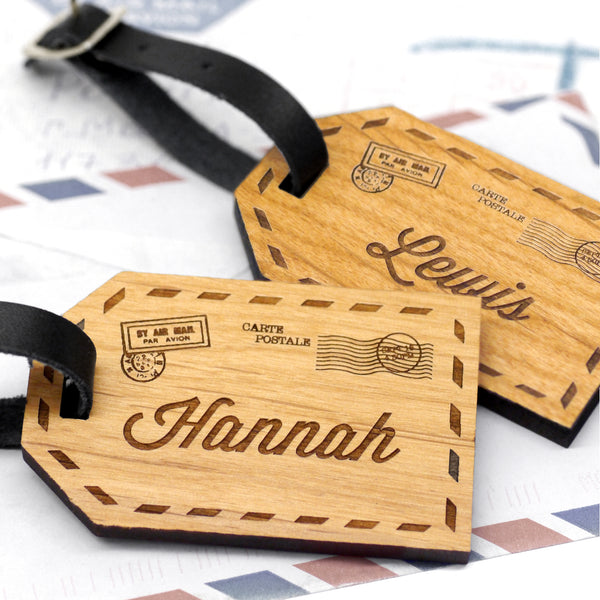 Set Of Two Personalised Wooden Couples Luggage Tags