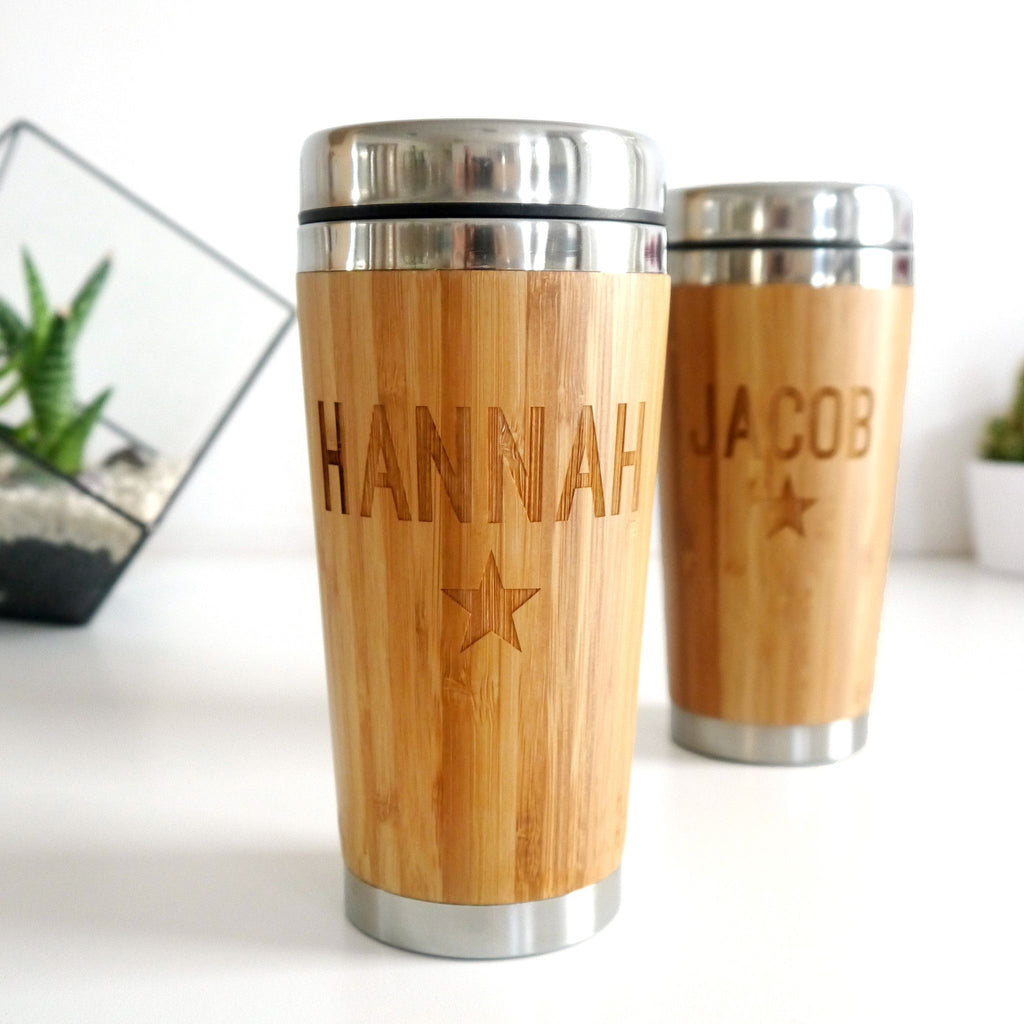 Set Of Two Personalised Couples Bamboo Travel Mugs